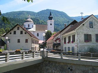 Gornji Grad, Gornji Grad - Northern entrance to Gornji Grad with the Dreta Bridge and Sts. Hermagoras and Fortunatus Church