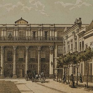 Gran Teatro Nacional (Mexico) - 19th-century engraving depicting the great National Theatre of Mexico.