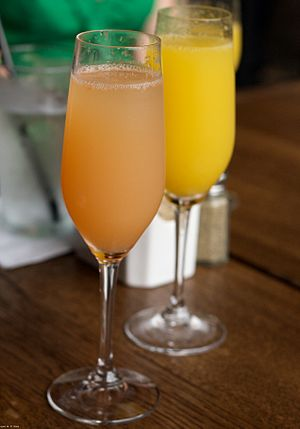 Mimosas made from mixing fruit juices and spar...