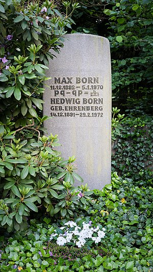 Max Born - Born's gravestone in Göttingen is inscribed with the uncertainty principle, which he put on rigid mathematical footing.