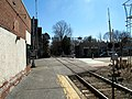 Great Plain Avenue grade crossing at Needham Center station, March 2016.JPG
