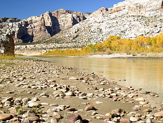 Green River (Colorado River tributary) - The Green River flows through Split Mountain Canyon before leaving Dinosaur National Monument in a meandering path across a broad irrigated flood plain