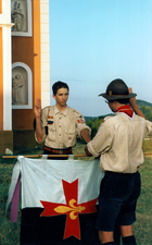 German Scouts of the Federation Scout Europe (FSE; today: Union internationale des Guides et Scouts d'Europe) at a Scout Promise ceremony at the St. George's mountain near the Lake Balaton in Hungary