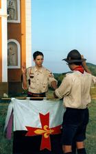 Немецкие скауты Федерации скаутов Европы (FSE; сегодня: Международный союз Guides ЕТ скаутов d'Europe) на церемонии Scout Promise на горе Святого Георгия близ озера Балатон в Венгрии