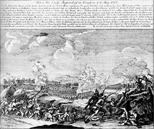 Battle of Gross-Jägersdorf - Cossacks and Kalmuks attack Lehwaldt's army.