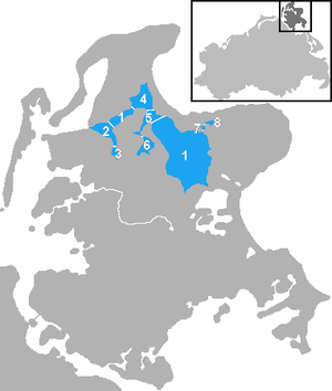 Großer Jasmunder Bodden - Location and sub-divisions of the Großer Jasmunder Bodden