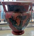 Grp di leagros, cretere a colonnette con thyasos dion. e atena tra achille e aiace, 525-520 ac. 02 da necrop. del crocif. del tufo.JPG