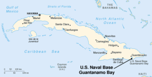 Guantánamo Bay - Map of Cuba with location of Guantánamo Bay indicated.