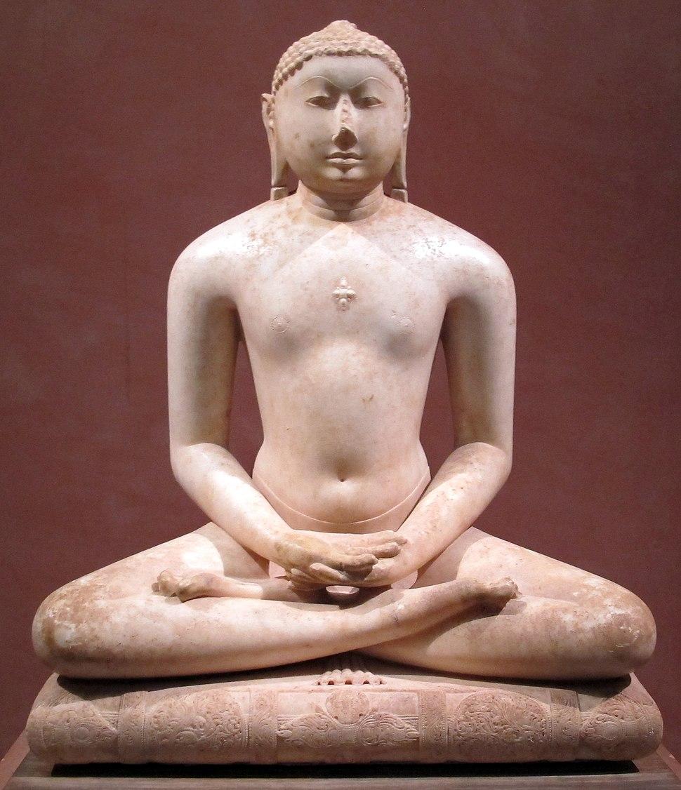 Guarajat o rajastan, periodo solanki, jain svetambara tirthankara in meditazione, su un trono-cushino, 1000-1050 ca.
