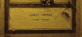 Guido Crepax - Crepax's grave at the Monumental Cemetery of Milan