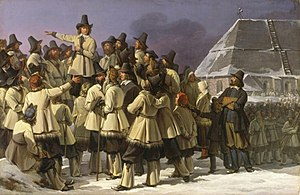 House of Vasa - Gustav Eriksson addressing men from Dalarna in Mora. Painting by Johan Gustaf Sandberg.