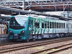 HB-E300 series - The four-car Resort Shirakami - Buna set at Akita Station in July 2016