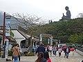HK Ngon Ping Village 昂坪市集 mkt (44) Tian Tien Buddha side face n visitors April 2016 DSC.JPG