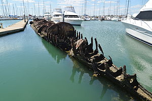 British J-class submarine - Wreck of HMAS ''J7'' at Sandringham Yacht Club marina