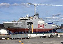 0f143f22 Construction of HMCS Harry DeWolf at Halifax Shipyard in May 2018.