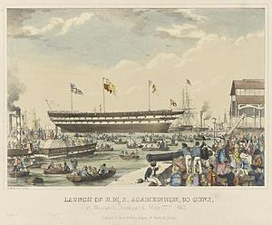 HMS Agamemnon (1852) - Launch of HMS Agamemnon, May 22, 1852.