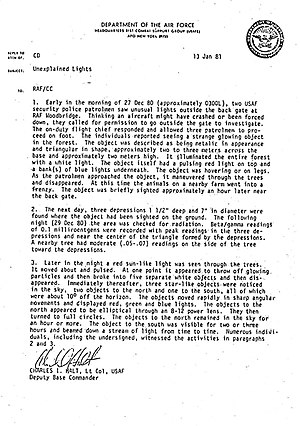 Rendlesham Forest incident - Letter from Lt. Col. Charles Halt to the UK Ministry of Defence.