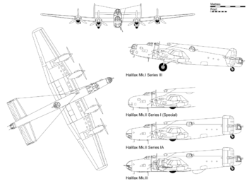 3-view projection of Halifax Mark I Series III, with profile details of other significantly different variants.