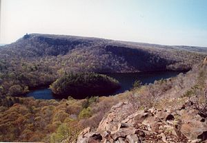 Fault block - The Hanging Hills of Connecticut (Metacomet Ridge range); upfaulting (horst) visible from right to left.