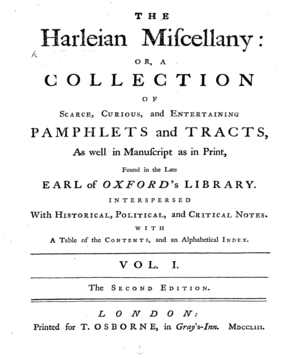 The Harleian Miscellany - Title page from the second edition of Harleian Miscellany (1753)