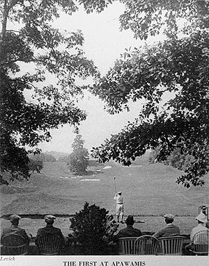 The Apawamis Club - Harold Hilton hitting a drive on the first hole at The Apawamis Club in the 1911 U.S. Amateur