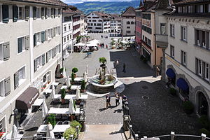 Rapperswil - Rapperswil Hauptplatz (main square), former Rathaus (town hall) to the right