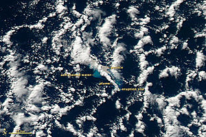 2012 Kermadec Islands eruption - Image: Havre Seamount Eruption 19 July 2012 with labels