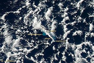 2012 Kermadec Islands eruption - Image: Havre Seamount Eruption 19 July 2012 with labels