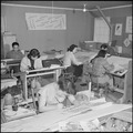 Heart Mountain Relocation Center, Heart Mountain, Wyoming. Artists at work in the Poster Shop at th . . . - NARA - 539153.tif