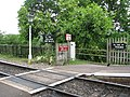 Heavily signed crossing at Stogumber station - geograph.org.uk - 1354114.jpg