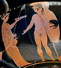 An ancient Greek painting on pottery of a woman with her hand outstretched to offer water to a nude man with armor and weapons