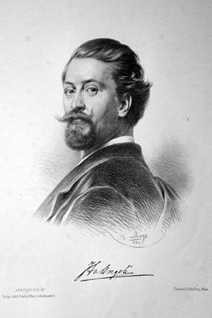 Heinrich von Angeli - Lithograph of von Angeli by Adolf Dauthage