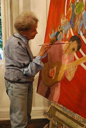 Helen Bickham - Bickham working on piece in her studio