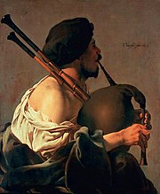 The bagpiper, by Hendrick ter Brugghen (17th Century, Netherlands)