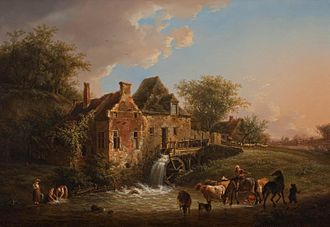 Henri Van Assche - Landscape with waterfall and farm by Henri Van Assche, Rademakers collection, 1806