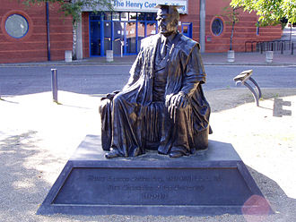 Chancellor of Liverpool John Moores University - Statue of Henry Egerton Cotton, LL.D, JP, First Chancellor of the university (1992-1993)