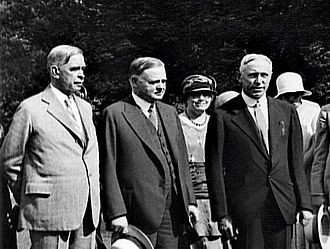 Claudius H. Huston - L-R Hubert Work, former RNC Chairman, President Herbert Hoover and newly appointed RNC Chairman C. H. Huston