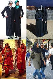 Cuatro ejemplos de hijab.  Conforme a manecillas del reloj desde la izquierda: Turquía; Dubai; Irán; y Jaipur, Rajasthan, India.