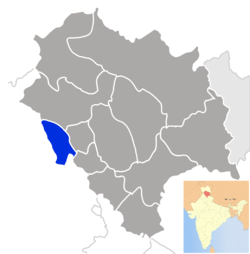 Location of Una district in Himachal Pradesh