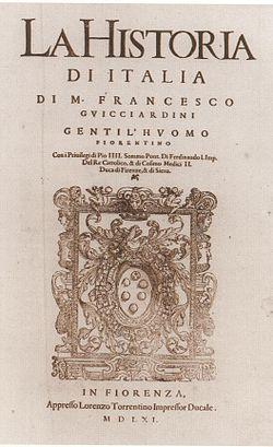 La Historia de Italia de Francesco Guicciardini , 1561