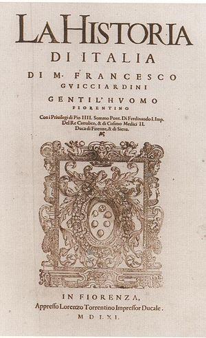 Lawrence Torrentinus -  Title page of Francesco Guicciardini's 'La Historia di Italia', Printed by Lawrence Torrentinus (Florence 1561).