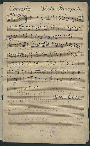 Viola concerto - First page of the viola solo part, in the manuscript parts set of Hoffmeister's viola concerto in D