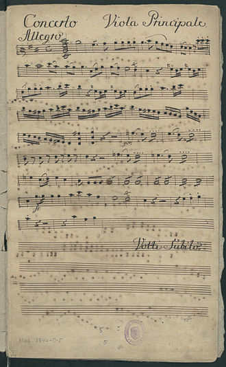 Franz Anton Hoffmeister - First page of the viola solo part, in the manuscript parts set of Hoffmeister's viola concerto in D