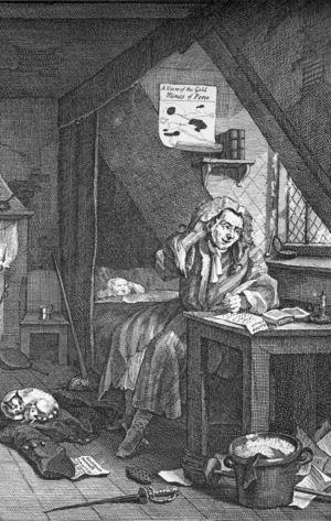 "Augustan literature - The Distrest Poet, William Hogarth's portrait of a Grub Street poet starving to death and trying to write a new poem to get money. The ""hack"" (hired) writer was a response to the newly increased demand for reading matter in the Augustan period."