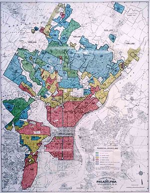 "Community Reinvestment Act - The CRA was passed to discourage redlining, a practice originally based on Home Owners' Loan Corporation ""residential security maps,"" like this 1937 security map of Philadelphia."