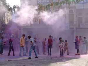 The Amazing Race 1 (China) - In the Roadblock in Delhi, racers had to search through a group of Holi festival goers.