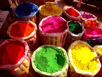 Gulal - Colours for Holi on sale at a market