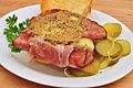 Hot ham and cheese sandwich with Dijon mustard.jpg