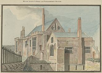 History of Chester - Hugh d'Avranches' Hall and Parliament House, Chester. c.1781