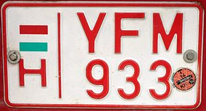 Slow moving vehicle - Image: Hungary license plate for slow vehicles 01